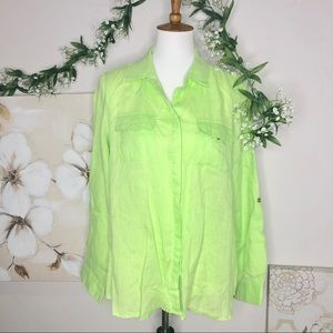 Charter Club | Luxury Linen Lime Green Button Down